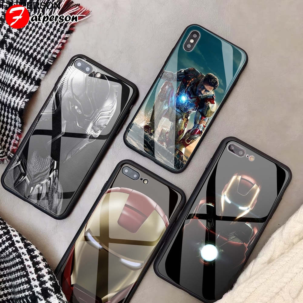 DIY Tempered Glass Phone Cover For IPhone 7 8 6s 6 Plus X XR XS MAX  Iron Man Marvel For Iphone 5 5S SE Custom Phone Case