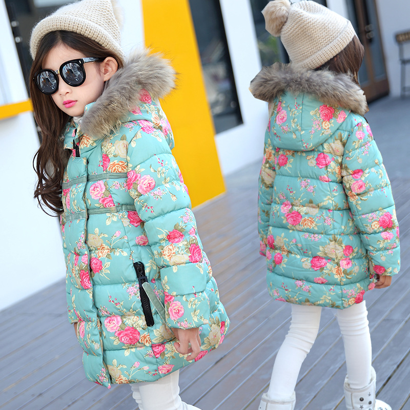 Girls Winter Coat New 2018 Warm Jackets Flower Children Outerwear Kids Clothes Hooded Fur Collar Parka Cotton Padded Overcoat long parka women winter jacket plus size 2017 new down cotton padded coat fur collar hooded solid thicken warm overcoat qw701