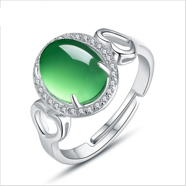 925 Sterling Silver Russian Emerald Ring