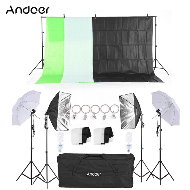Andoer Photography Lighting Equipment Kit Soft Light Umbrella Softbox Bulb Holder Light Bulbs Socket Backdrops Photo Studio Kits