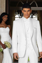 Custom Made White Men' s Wedding suits 3 pcs (Jacket+Pants+Vest) Groom Tailcoat popular tailcoat groom tuxedos jacket pants vest custom made men wedding suits