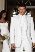 Custom Made White Men' s Wedding suits 3 pcs (Jacket+Pants+Vest) Groom Tailcoat