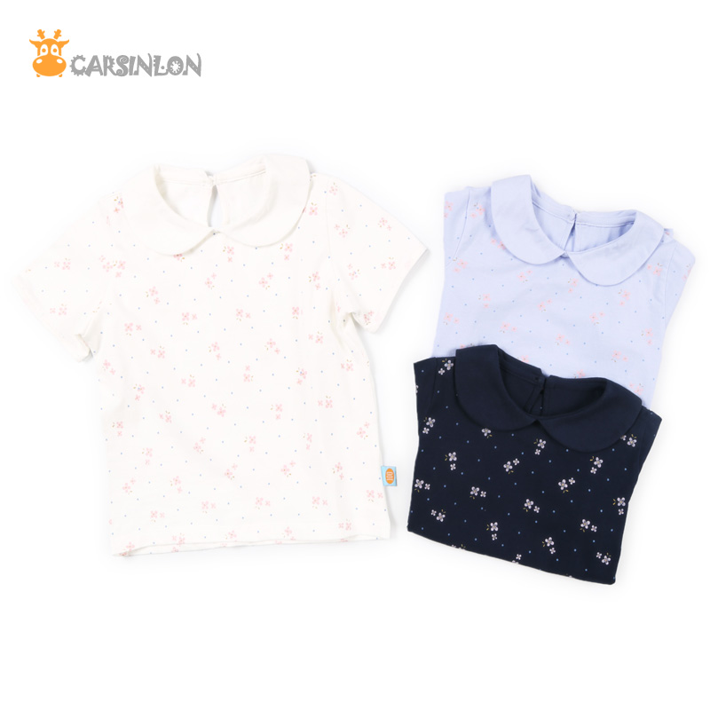 Free Shipping Girls t shirt Cotton Peter Pan Collar Short Sleeved Floral Baby Kids t-shirt Clothes Summer Top Tees White