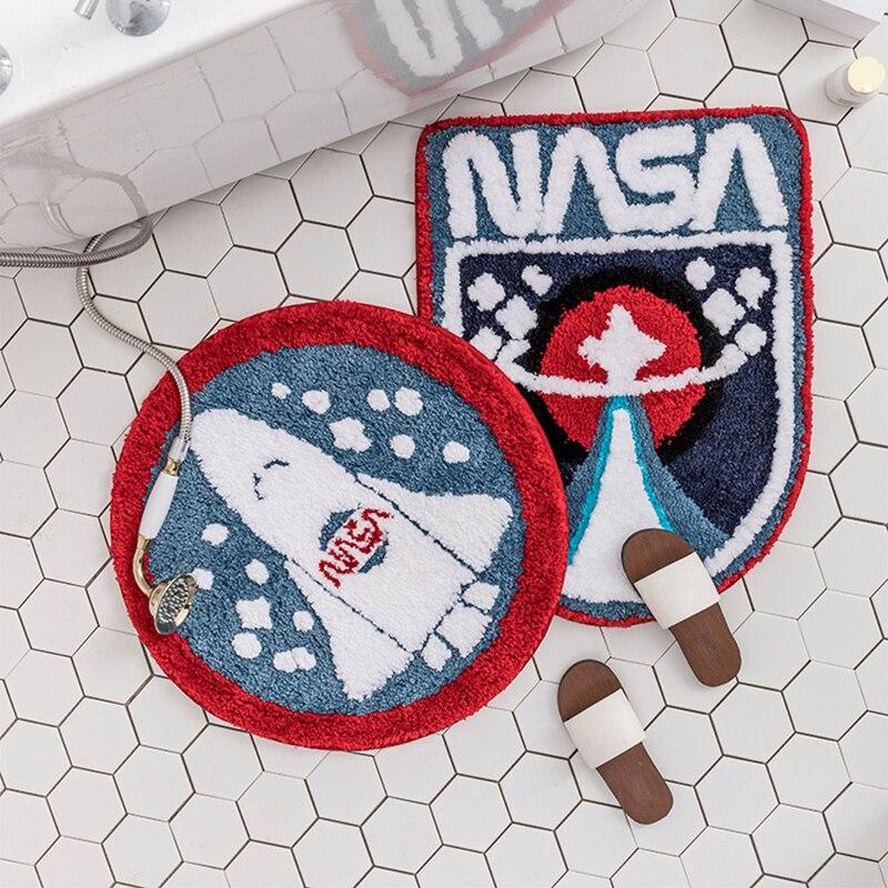 Tapis de salle de bain en microfibre Super doux Shaggy tapis de salle de bain espace extérieur Star Rocket tapis de bain lavables en Machine tapis de bain antidérapant