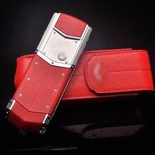Stile di affari di Lusso del Cuoio Genuino di Caso di Vibrazione Per Vertu Signature S CEO 168 Del Telefono Mobile di Copertura di Protezione Completa Rosso YBSV4