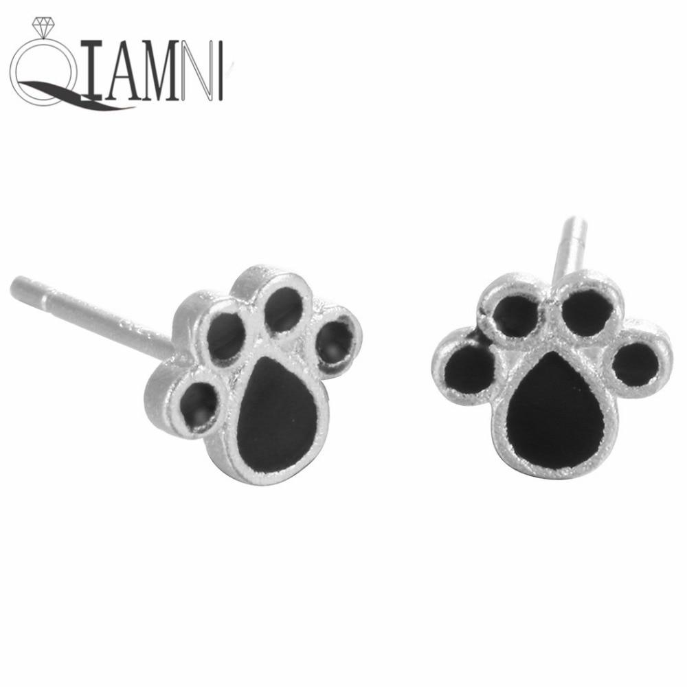 QIAMNI 925 ստերլինգ արծաթյա սիրուն արջի թաթ կլոր շուն կատու թաթ ականջողներ Stud կանանց համար Քաղցր երեկույթ նվեր ամանորյա զարդեր