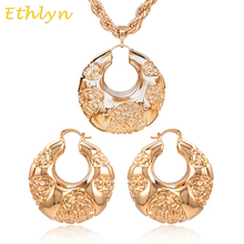 Ethlyn Nigerian women light hollow-out big hoop earrings pendant jewelry sets cooper rose gold  bridal party accessories S033