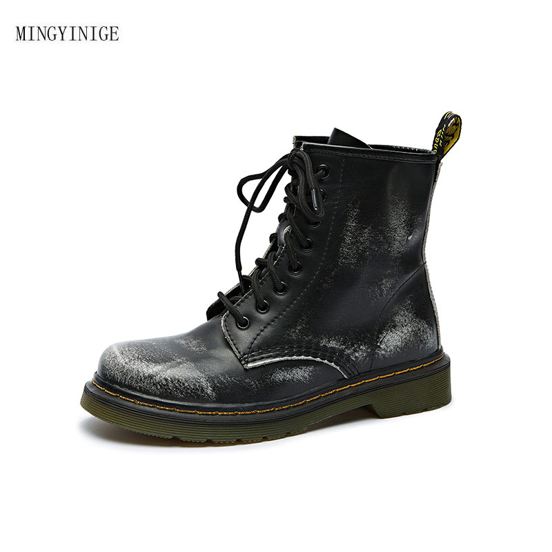 Autumn and Winter New Style European and American Round Head Low and Middle Tube Boots Buckle Korean Boots Martin Boots