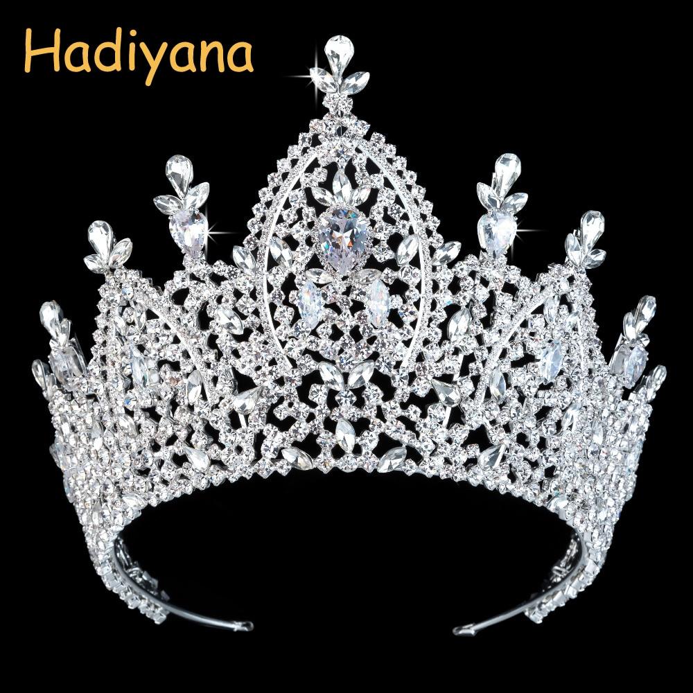 Hadiyana New Luxury Tiara Bridal Crown for Women 2019 Wedding Hair Accessories Royal Zirconia Imperial Crowns