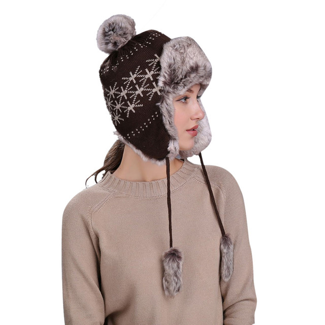 Best sale Warm Women Winter Hat with Ear Flaps Snow Ski Thick Knit Wool Beanie  Cap Hat for Lady Female drop ship 446fc3a457c