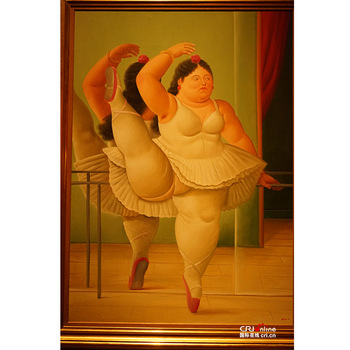 Handmade  Fernando Botero fat woman oil painting art on canvas wall for living room art Home Decoration
