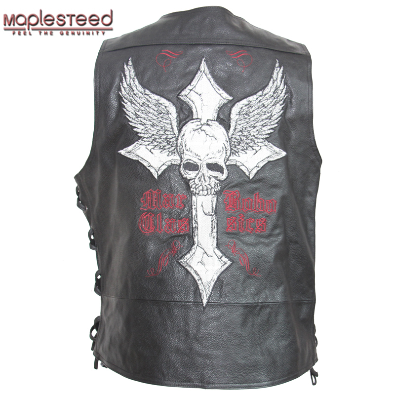 MAPLESTEED Leather Vest Motorcycle Embroidery Skull Natural Cow Skin Moto Vest Biker Waistcoat Leather Jacket Sleeveless 127