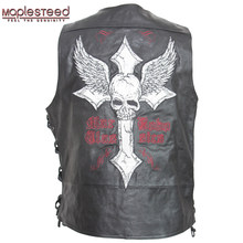 MAPLESTEED Leather Vest Motorcycle Embroidery Skull Natural Cow Skin Moto Vest Biker Waistcoat Leather Jacket Sleeveless 127(China)