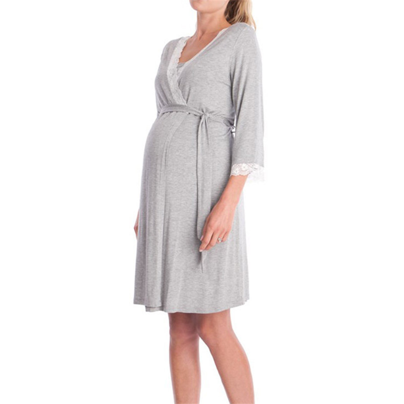 Fashion Lace Patchwork Maternity Pajamas Three quarter Sleeves Dresses Robe with Belt Pr ...