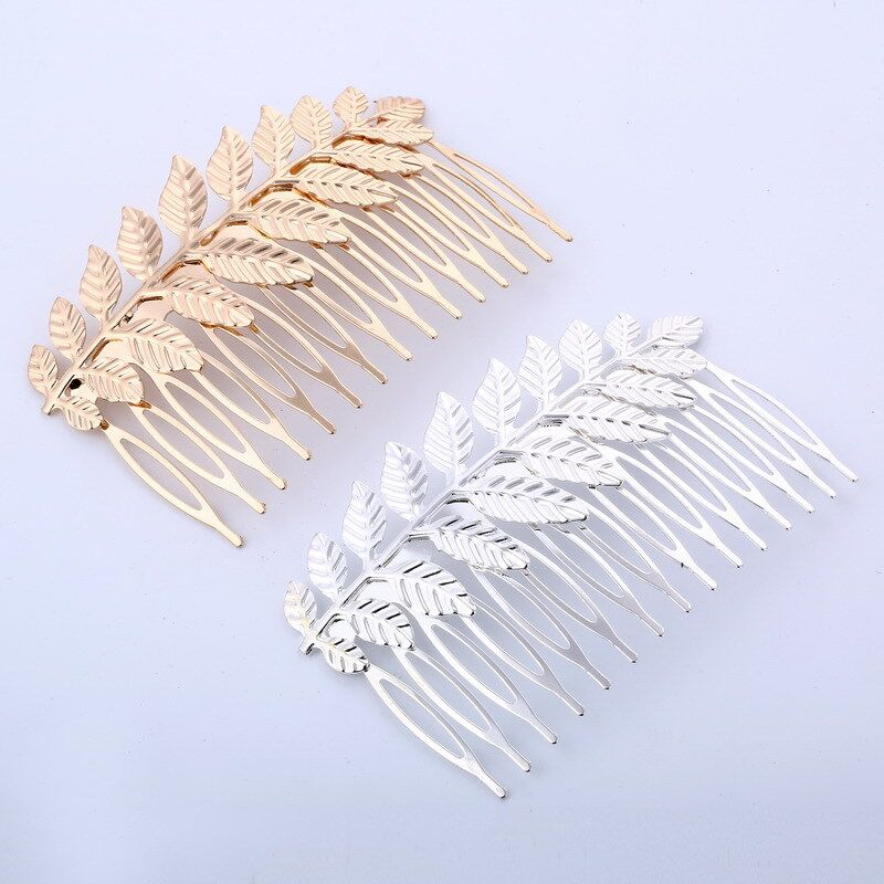New Style Hair Clip Comb Gold Silver Color Leaf Hair Comb Hairpins Women Wedding Festival Hair Styling Accessories