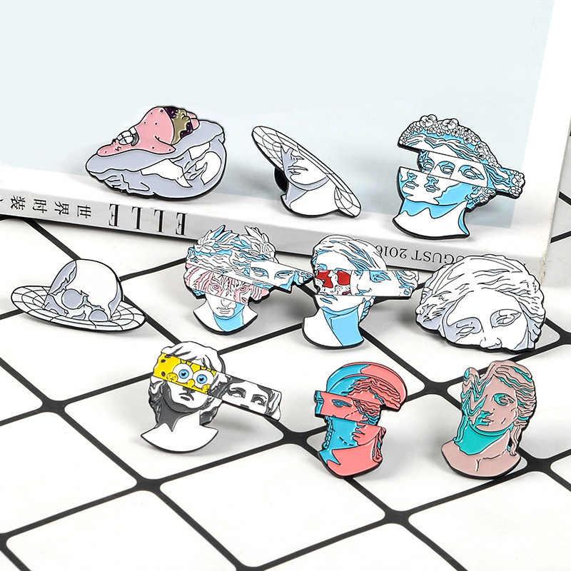 Weishuoli Enamel Kreatif Split Patung Bayi Spons Lencana Pin Bros