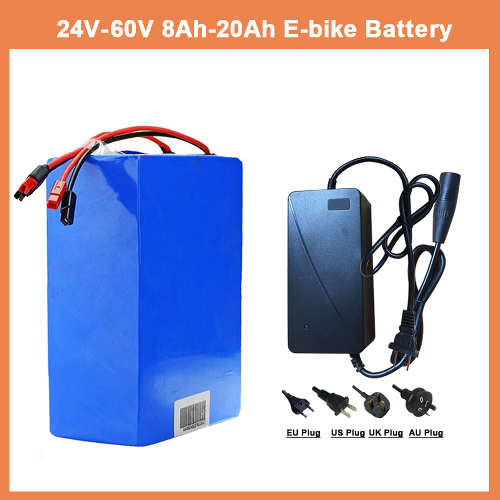 EU US RU No Tax 1000W 24V36V48V eBike Battery 50A BMS Lithium Battery With Charger Electric Bicycle Battery pro Bafang Motor