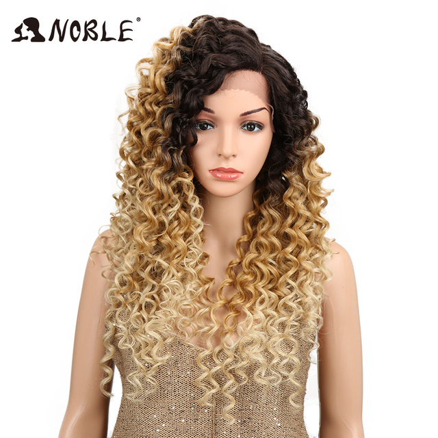 """NOBLE Ombre Wig Kinky Curly 1.5*13.5 inches Side Lace Front 150 Density 26"""" Blonde Heat Resistant Synthetic Wigs For Black Women"""