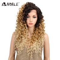 NOBLE Ombre Wig Kinky Curly 1.5*13.5 inches Side Lace Front 150 Density 26 Blonde Heat Resistant Synthetic Wigs For Black Women