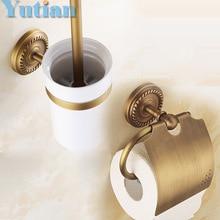 Ücretsiz nakliye, katı pirinç Banyo Aksesuarları Seti, Kağıt Tutucu tuvalet fırçası tutucu, banyo setleri, antik brassYT-12200-2