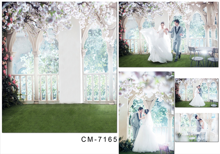 5X7ft Romantic outdoor beautiful flowers computer printed wedding bridal  Backdrops Digital Printing Background for photo Studio