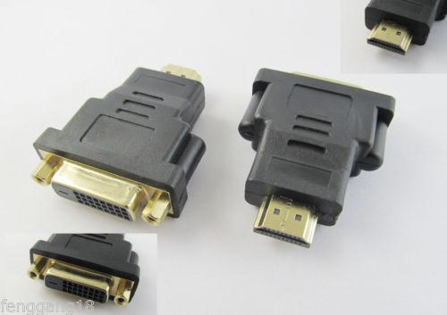 1pcs HDMI Male Plug to DVI D 24+1 Female Jack DVI Adapter Converter M F Gold Plated on AliExpress