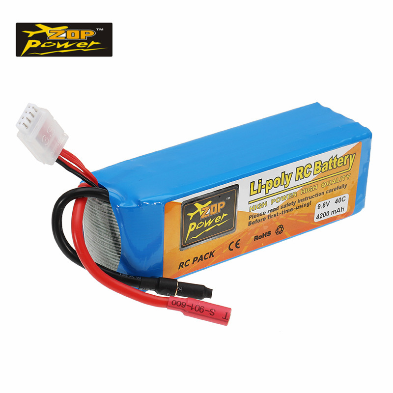 New Hot ZOP Power 9.6V 4200mAh 40C Lipo Battery 5.5mm Bullet Plug for 1/8 1/10 RC Car Toys Models Parts VS For Infinity hot new battery 12n 1600scb 12n1600scb 12n 1600scb 14 4v 1600mah battery pack with plug