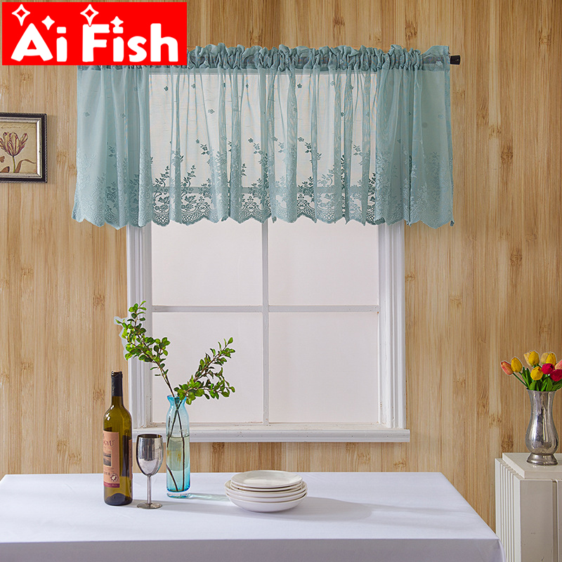 White Mesh Fabrics Window Lace Kitchen Curtain Coffee