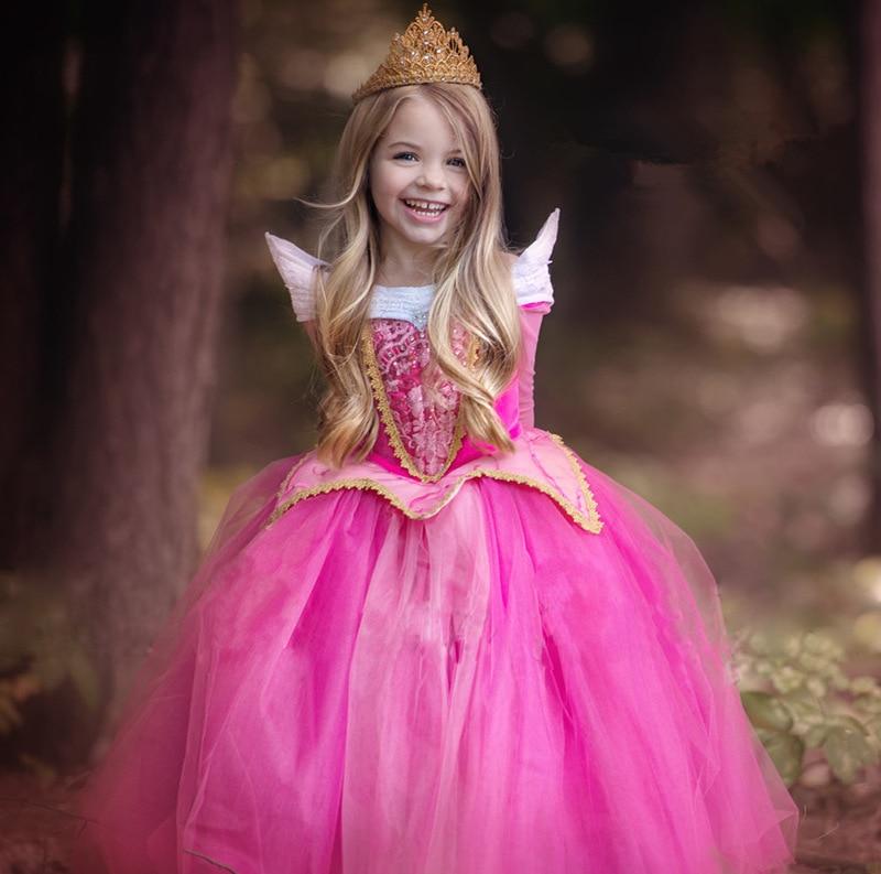 Princess Girls Cinderella Party Dress Children Clothing Snow White Dress Rapunzel Aurora Dress Kids Fashion Clothes 3-9T kids girls summer cotton dress children girl snow white sofia cinderella rapunzel princess dresses 1 5t cosplay costume t469