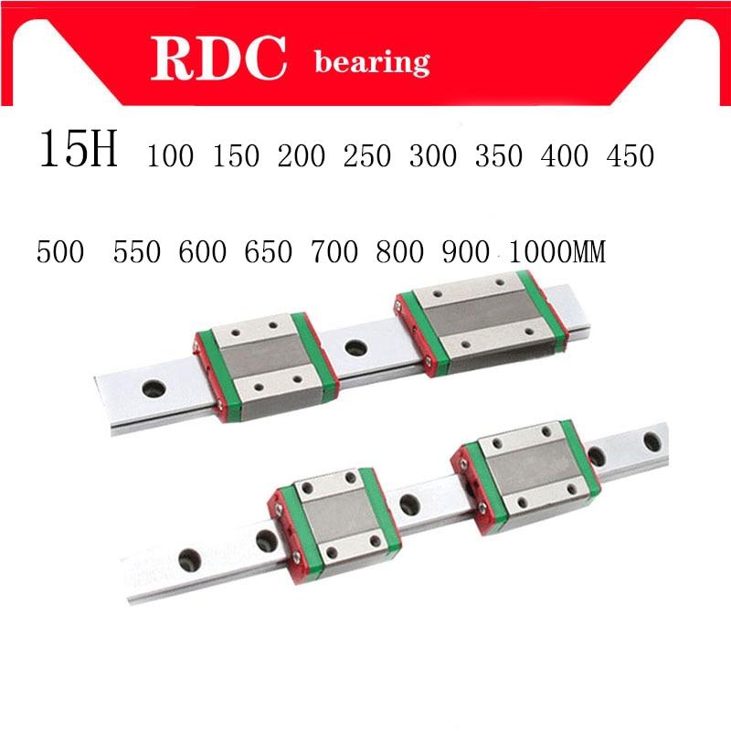 Guia Linear de 15mm MGN15 L = 100 200 300 350 400 450 500 550 600 700 800mm linear modo ferroviário + MGN15C ou MGN15H transporte linear