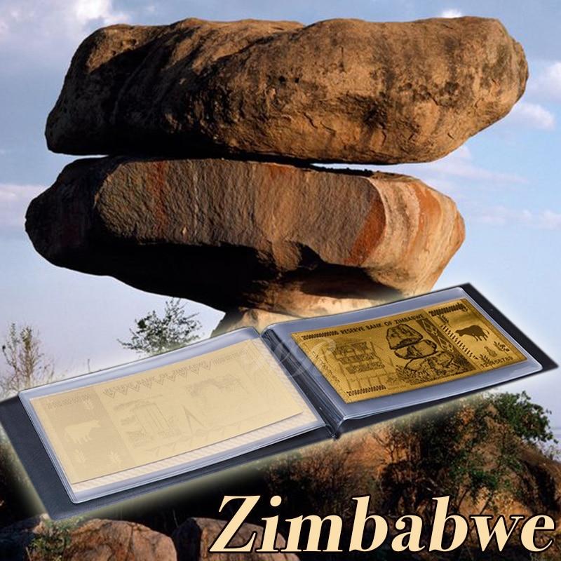Ev ve Bahçe'ten Altın Banknotlar'de Tüm Set Zimbabve Kağıt Para 4 adet 99.9% Normal Altın Folyo Bnaknote ZWD 10 20  50 100 Not Bills Deri Kılıf title=