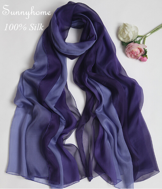 solid pure silk chiffon scarf Grey scarfs Beige scarves ash gradient color genuine super summer british style suncreen pashmina стоимость