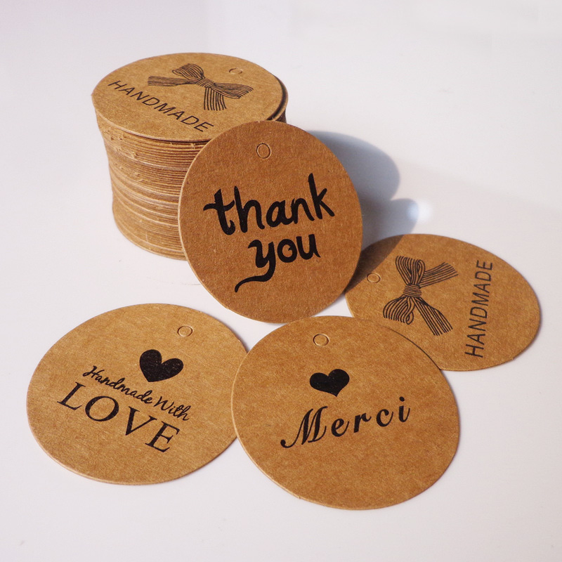100pcs Round Thank You Handmade Merci Love Bookmark Brown Paper Gift Tags Hang Tag Retro Kraft Paper Cards Label DIY Dia.4cm