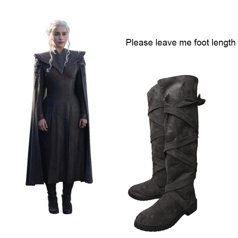 Game of Thrones Season 7 Boots Daenerys Targaryen Cosplay Shoes Halloween Carnival Cosplay Props Accessory Adult