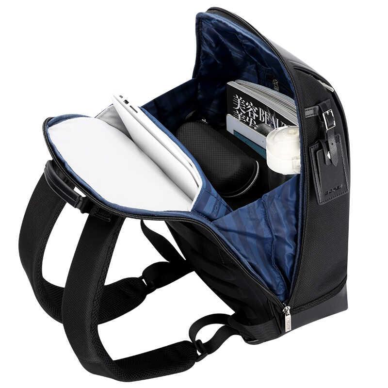 Bopai forma de concha negócios masculino escritório trabalho mochila carga usb legal masculino couro daypack mochila sacos de ombro para o trabalho