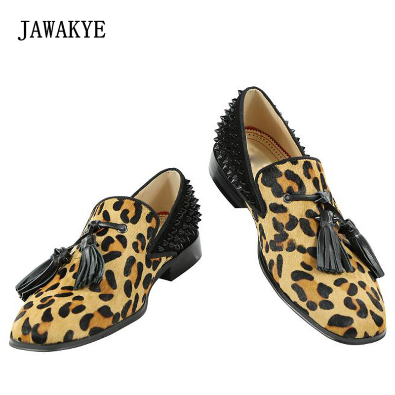 2018 Luxury Horse Hair Rivet Shoes Men Round Toe Leopard Print Tassel Fringe Mens Shoes Casual fringe detail geometric print sweater