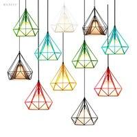 7 Colors Europe Pastoral Style Pendant Lights Lamp iron Industrial Decor wandlamp luminaria Fabric Lampshade Black/White/Green