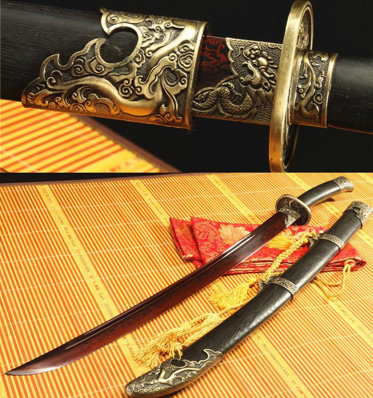 37 'FOLDED STEEL RED BLADE ROSE ČÍNSKÝ DRAGON SWORD QING DAO