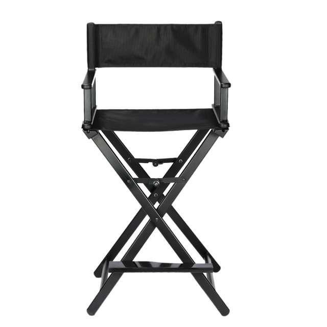 Professional Makeup Artist Director's Chair Aluminum Frame Portable Folding Chair Ultra Light Weight and Outdoor Foldable Black