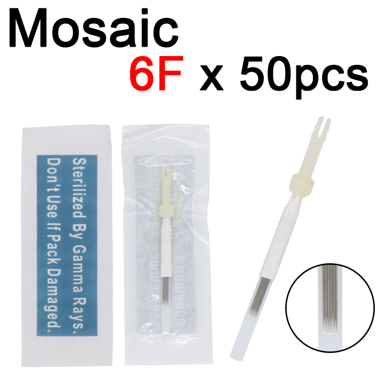 50Pcs 6F Tattoo Needle 6 Prong Flat Card Needles Cap For Original USA Biotouch Mosaic Machine Permanent Munsu Makeup Accessories