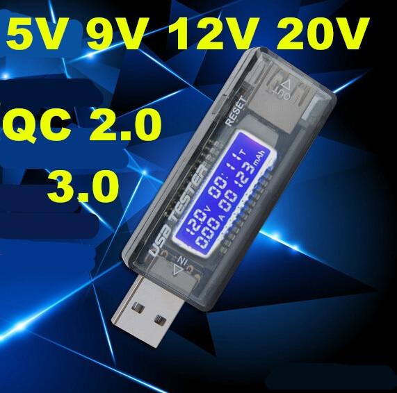 USB 5V 9V 12V 20V QC 2.0 3.0 OLED Current Voltage Charger Capacity Tester USB Charger Doctor Power Meter Text Voltmeter 7%off