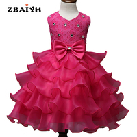 Kids Dresses For Girls Hot Sell Summer Princess Dress Sleeveless Party Wedding Dresses Christmas Bowknot Lace