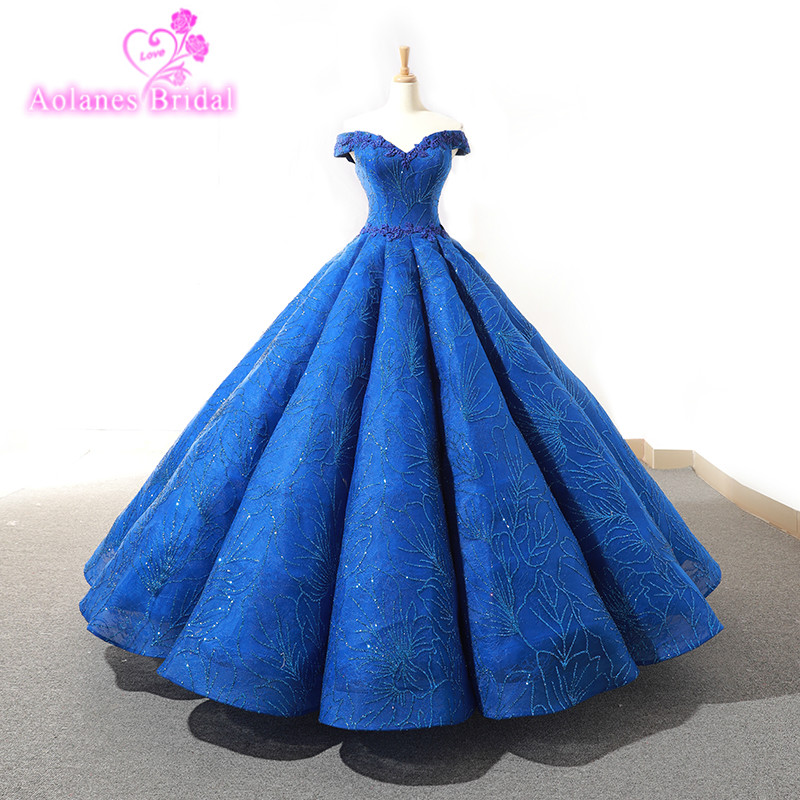 Royal Blue Off The Shoulder Wedding Dresses 2018 For Women Lace Up Floor Length Lace Pearls Ball Gowns Puffy Bridal Gowns