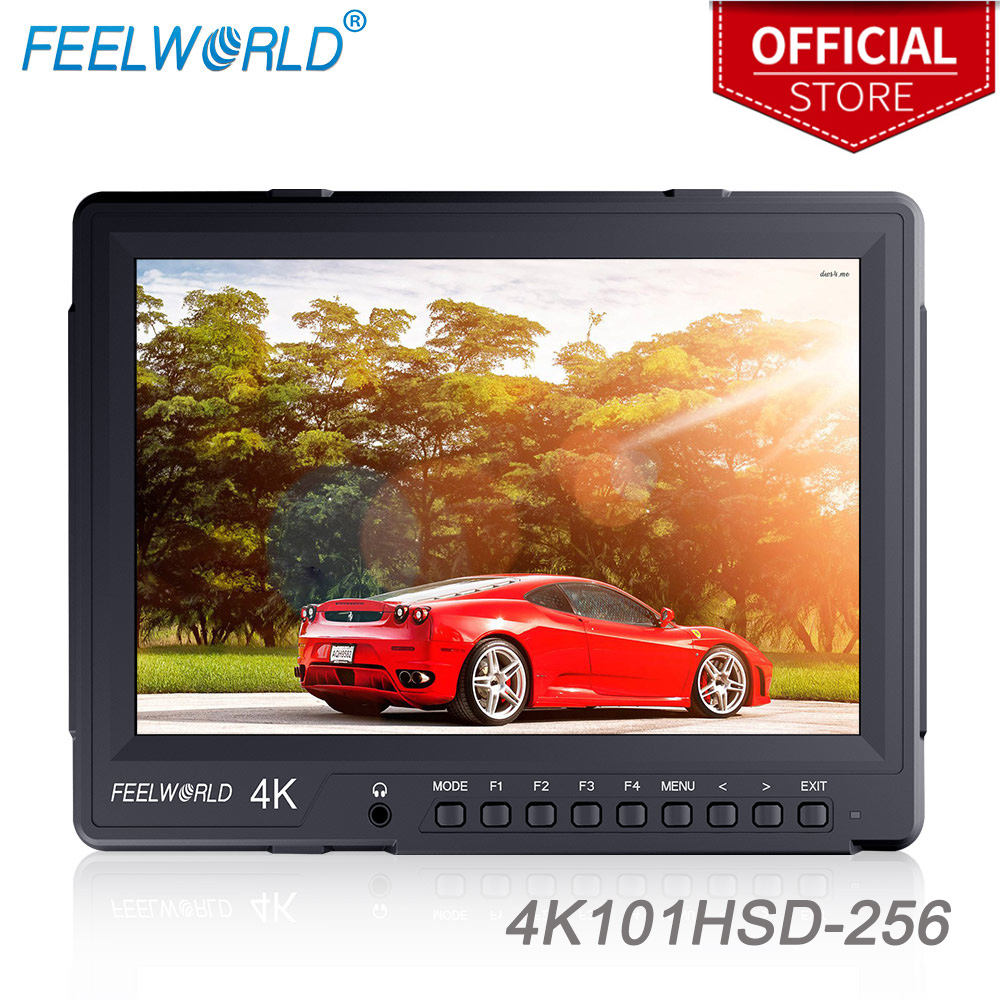 """Feelworld 4K101HSD-256 10.1"""" IPS 2560X1600 4K Broadcast Monitor with PBP PIP HDMI2.0 3G-SDI Camera Field Monitor for DSLR Rig"""