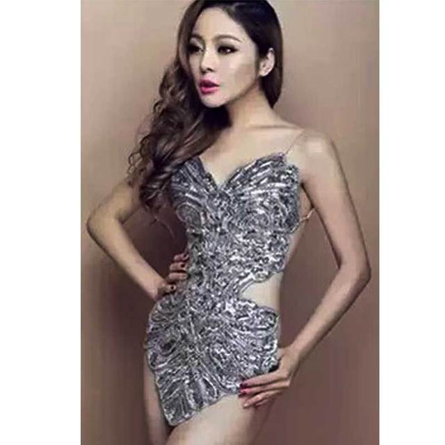 a4ef28b311 US $12.98 |2016 sexy female singer students costume silver sequins dance  wear bar dj clothes stage costume women dancers singer stage show-in  Chinese ...