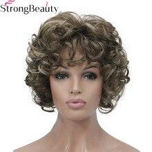 強力な美容ショートカーリーウィッグ人工毛キャップレス女性かつら