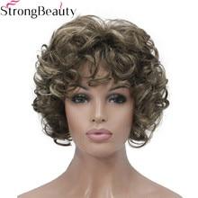 قوي الجمال قصيرة مجعد الباروكات الاصطناعية الشعر Capless باروكة شعر مستعار للنساء