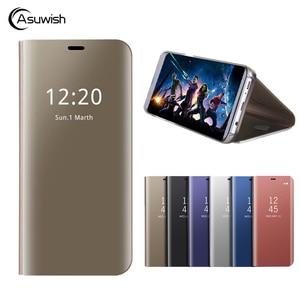 Кожаный чехол с откидной крышкой и зеркальным покрытием для Samsung Galaxy J7 Pro J5 J3 2017 J 5 7 3 SM J730F J530F J330F, чехол для телефона с откидной зеркальной кры...