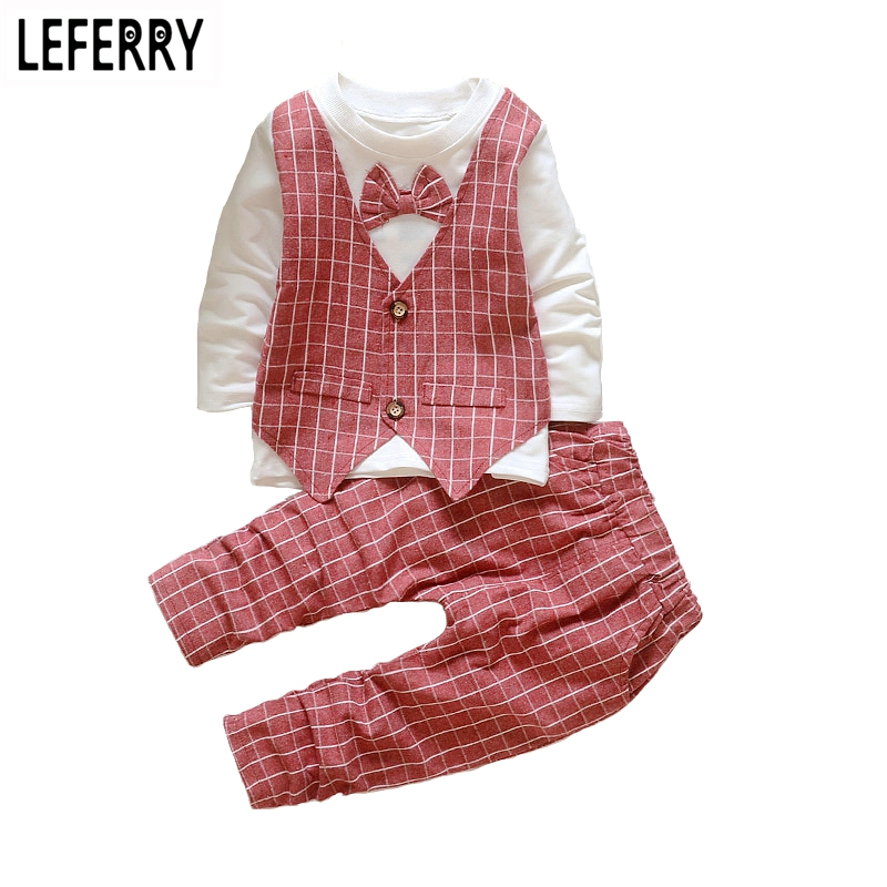New Autumn Kids Clothes Boys Clothing Sets Baby Boy Clothes Set Toddler Boys Clothing Plaid Vest Bow Tie Wedding Party Dresses