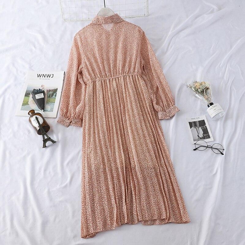 HELIAR 2019 Spring Women Dress Elegant Evening Party Elastic A-Line Chiffon Dress Lady Floral Print Pleat Casual Dresses 2